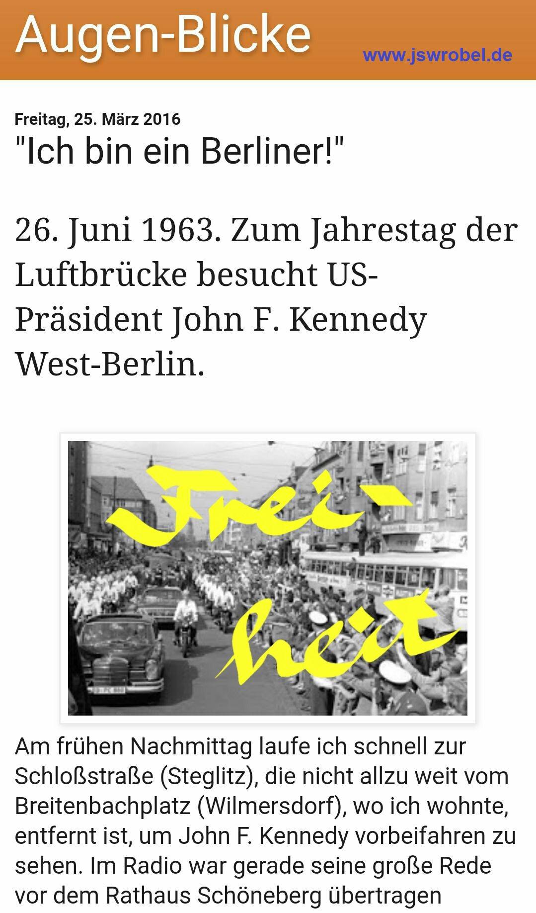 """Ein """"Augen-Blick"""", West-Berlin, 26. Juni 1963."""